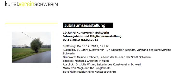 Jubiläumsausstellung Kunstverein Schwerin