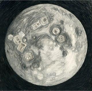 snatchki (moon), 2014, Mischtechnik, 37x37cm,