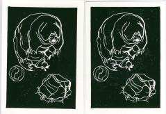 tardigrade, Linolschnitt, 2015, 10x15cm
